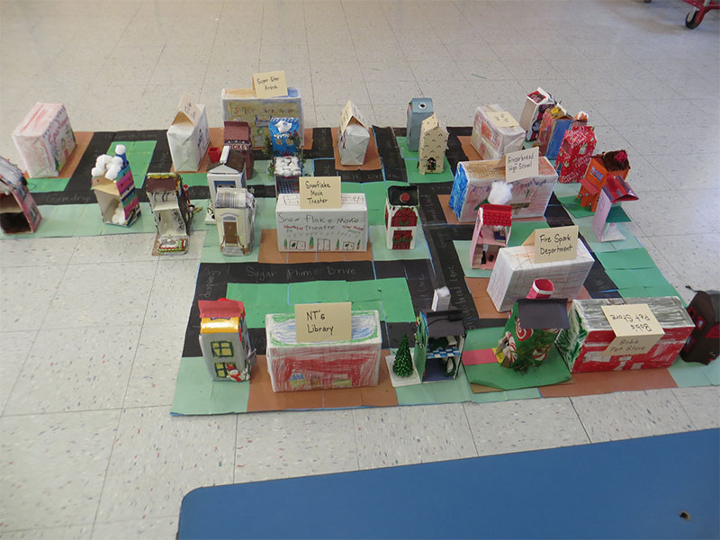 Students Construct a Gingerbread Village